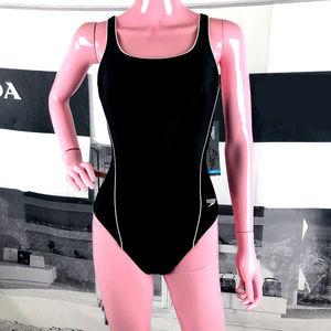 NWT Speedo Athletic Black One Piece Swimsuit